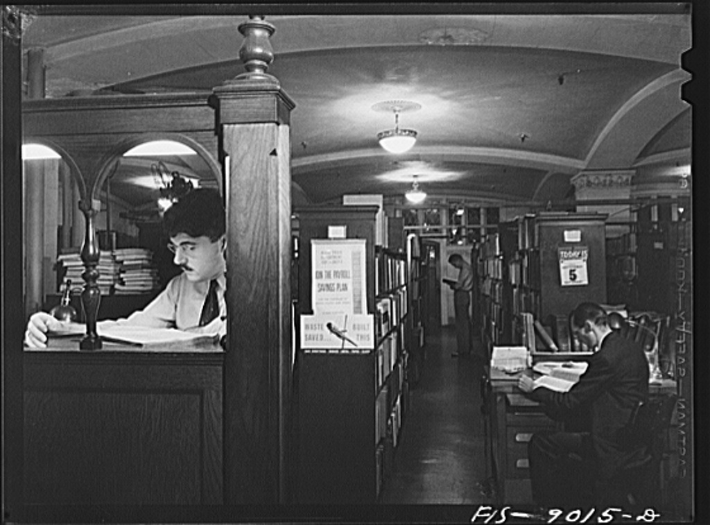 "Library of the New York Times newspaper. Editors and writers can look up every conceivable subject and get information not available in the ""morgue"""