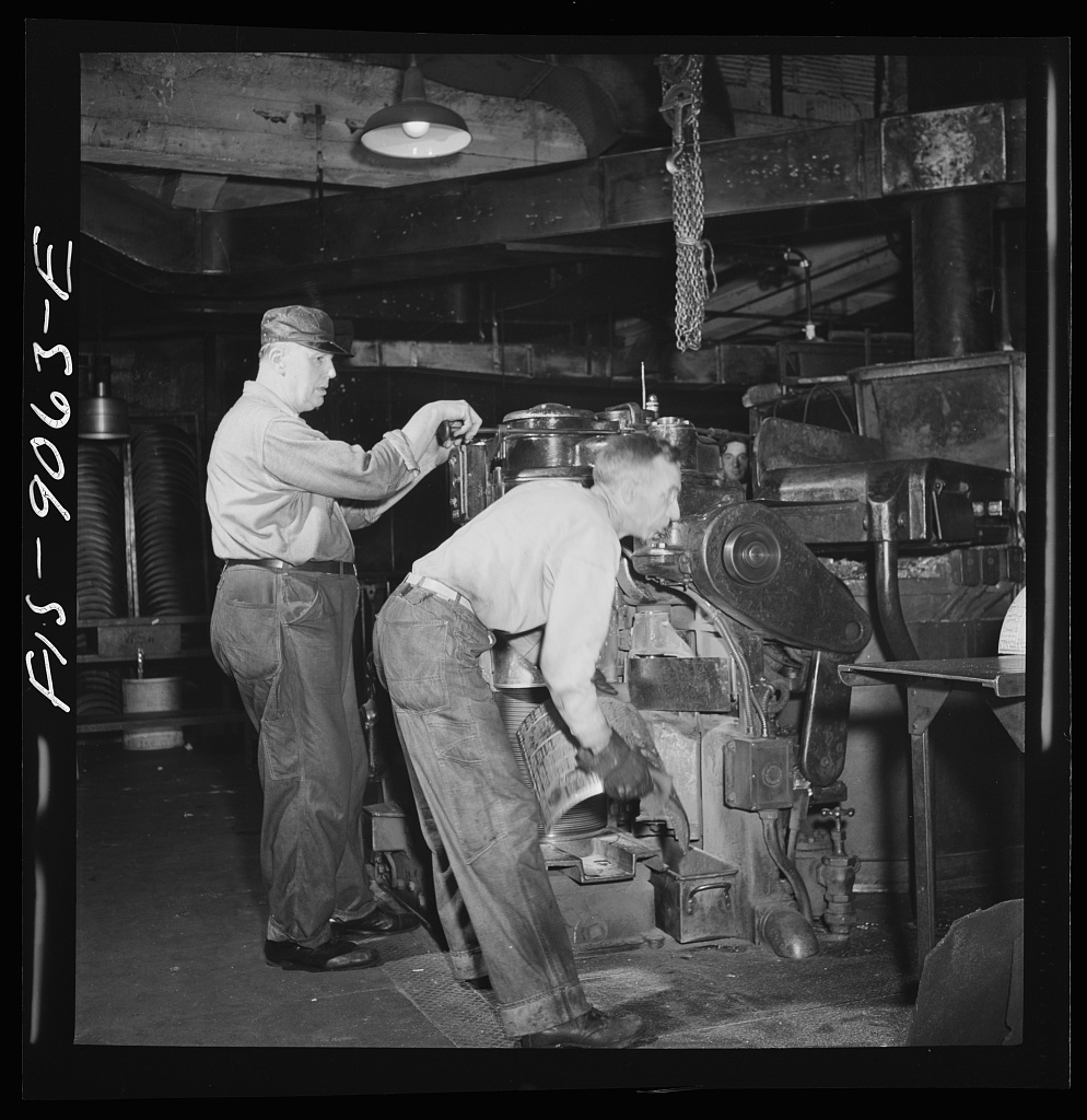 Pressroom of the New York Times newspaper. Casting of plates from mats in Autoplate machine