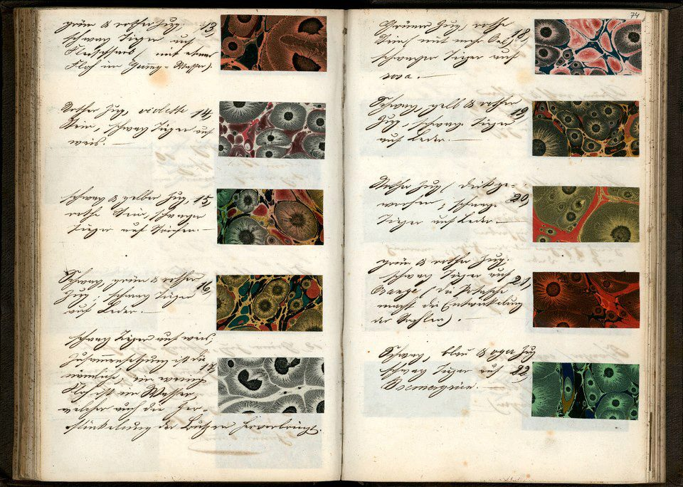 A late 19th century German recipe book for decorated paper samples. From the Koninklijke Bibliotheek in the Netherlands.