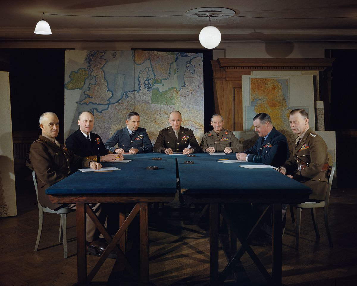 February 1944 General Dwight D. Eisenhower and his senior commanders at Supreme Allied Headquarters in London.