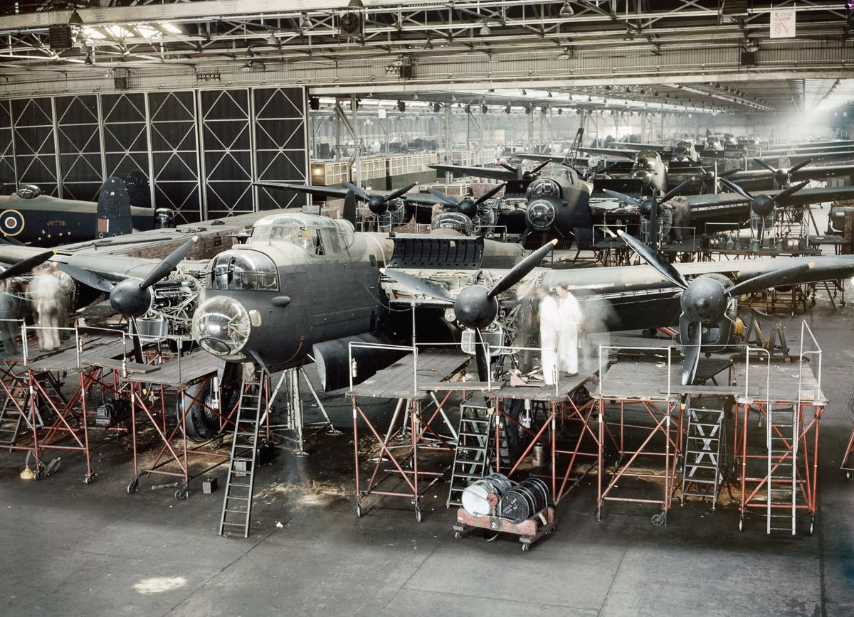 1943 Lancaster bombers nearing completion in Avro's assembly plant at Woodford near Manchester.