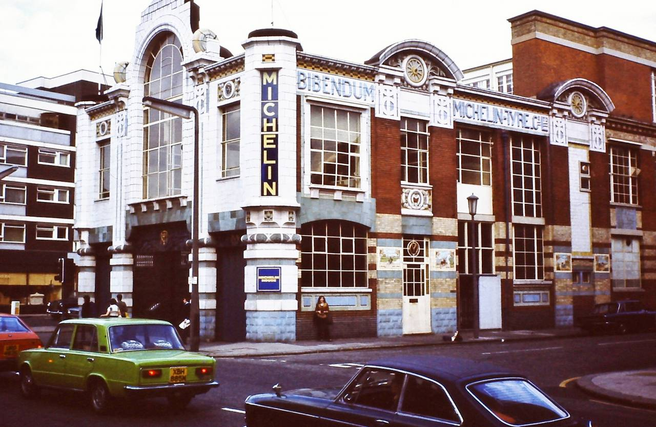 Michelin Building at Fulham Road, corner of Lucan Place, London 1978.