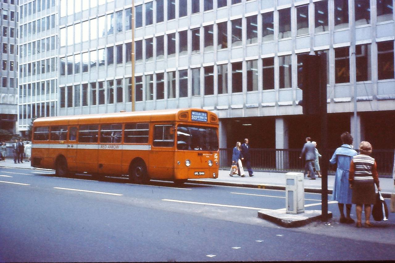 Red Arrow bus in Victoria Street, London 1978.