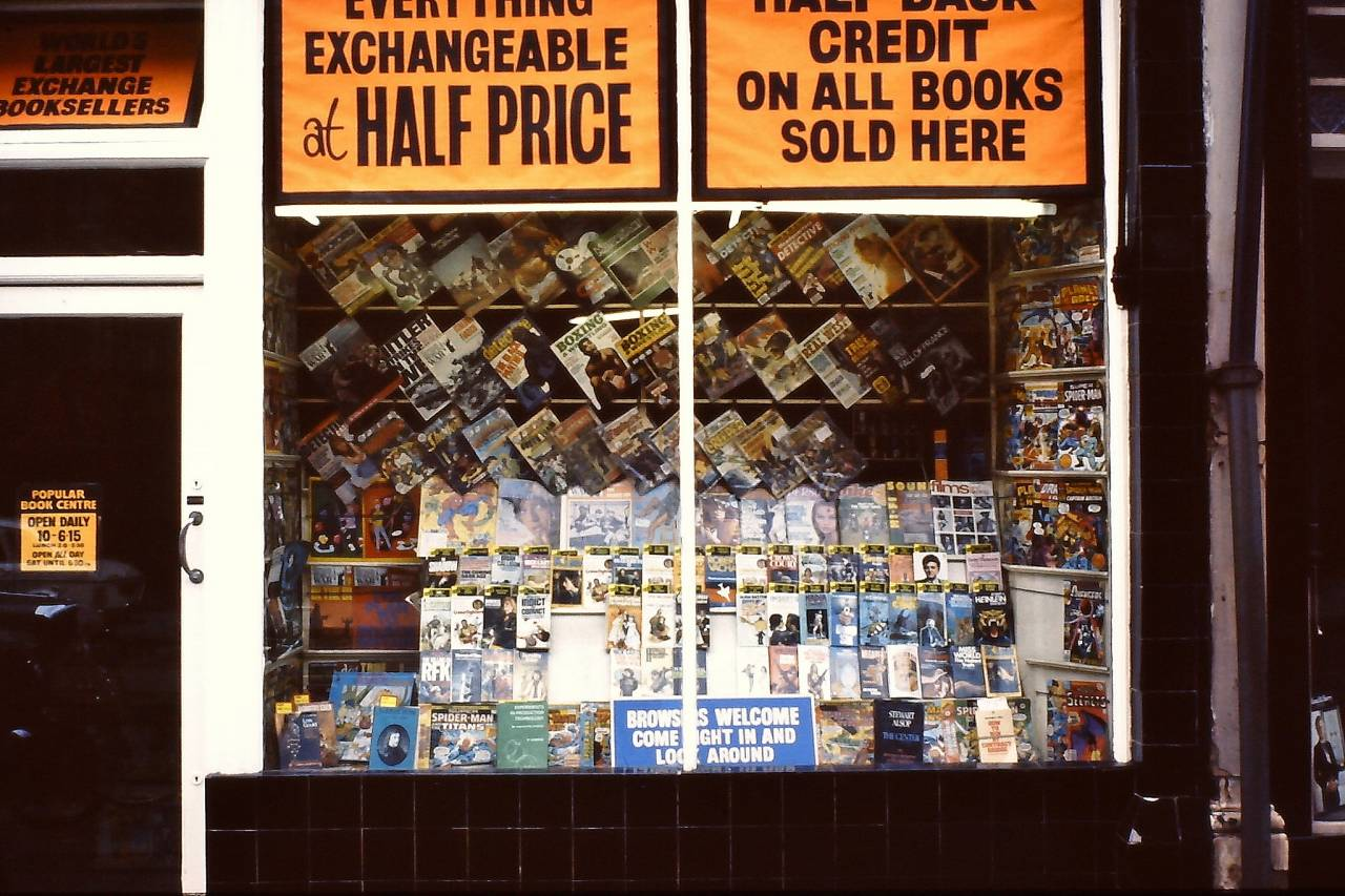 Bookseller on Rochester Row in 1978, the shop has now gone.