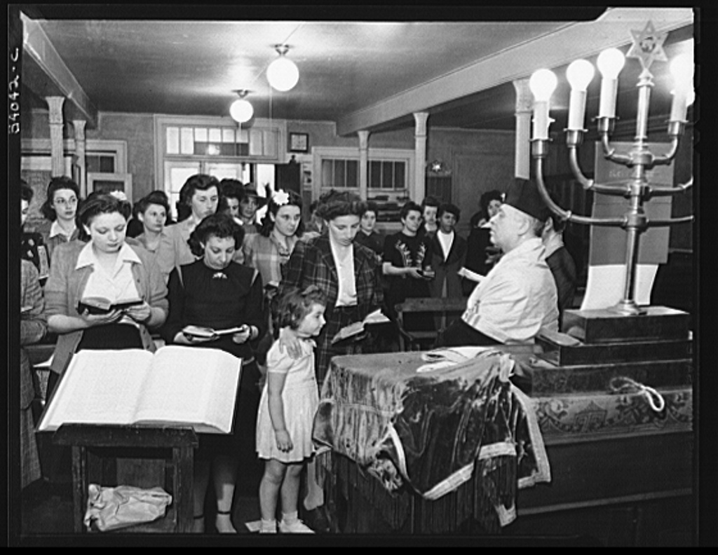 New York, New York. June 6, 1944. D-day sevices in a synagogue on West Twenty-third Street