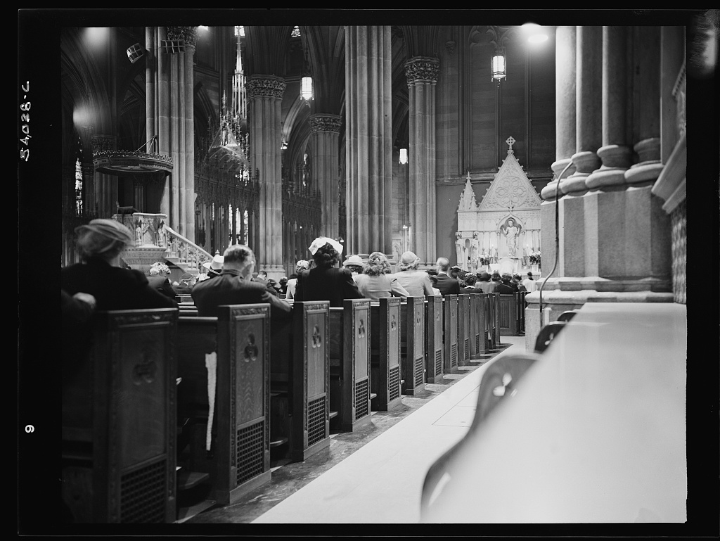 New York, New York. Seven o'clock mass on D-day in the Lady Chapel, Saint Patrick's Cathedral