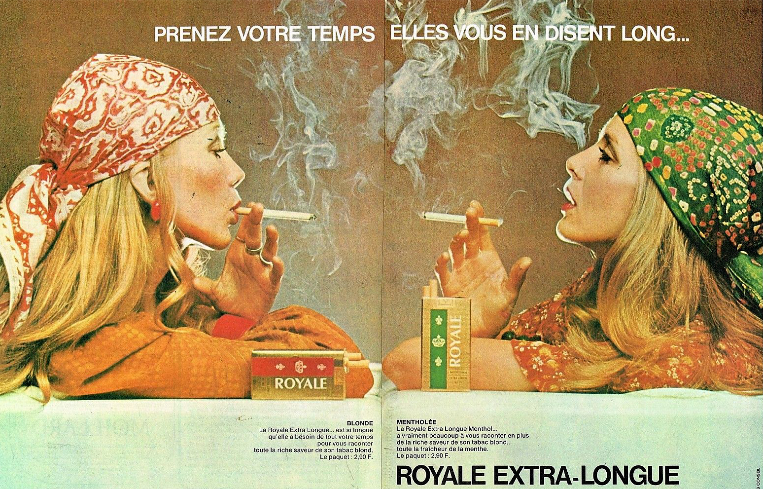 Publicité Advertising 1971 (2 pages) Les Cigarettes Extra-Longues Royale
