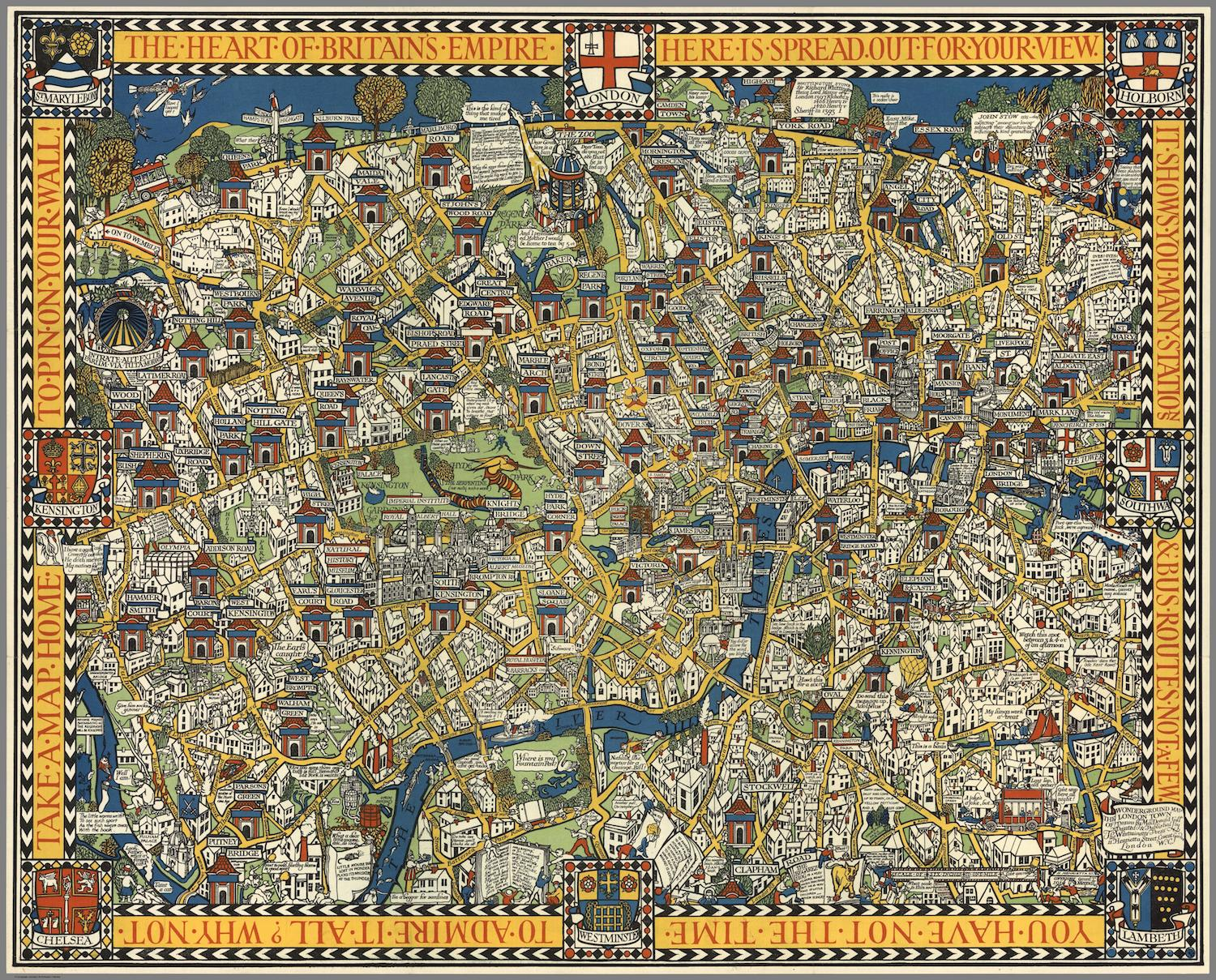 London Town Map.The Famous Wonderground Map Of London Town Made Time Travel Possible