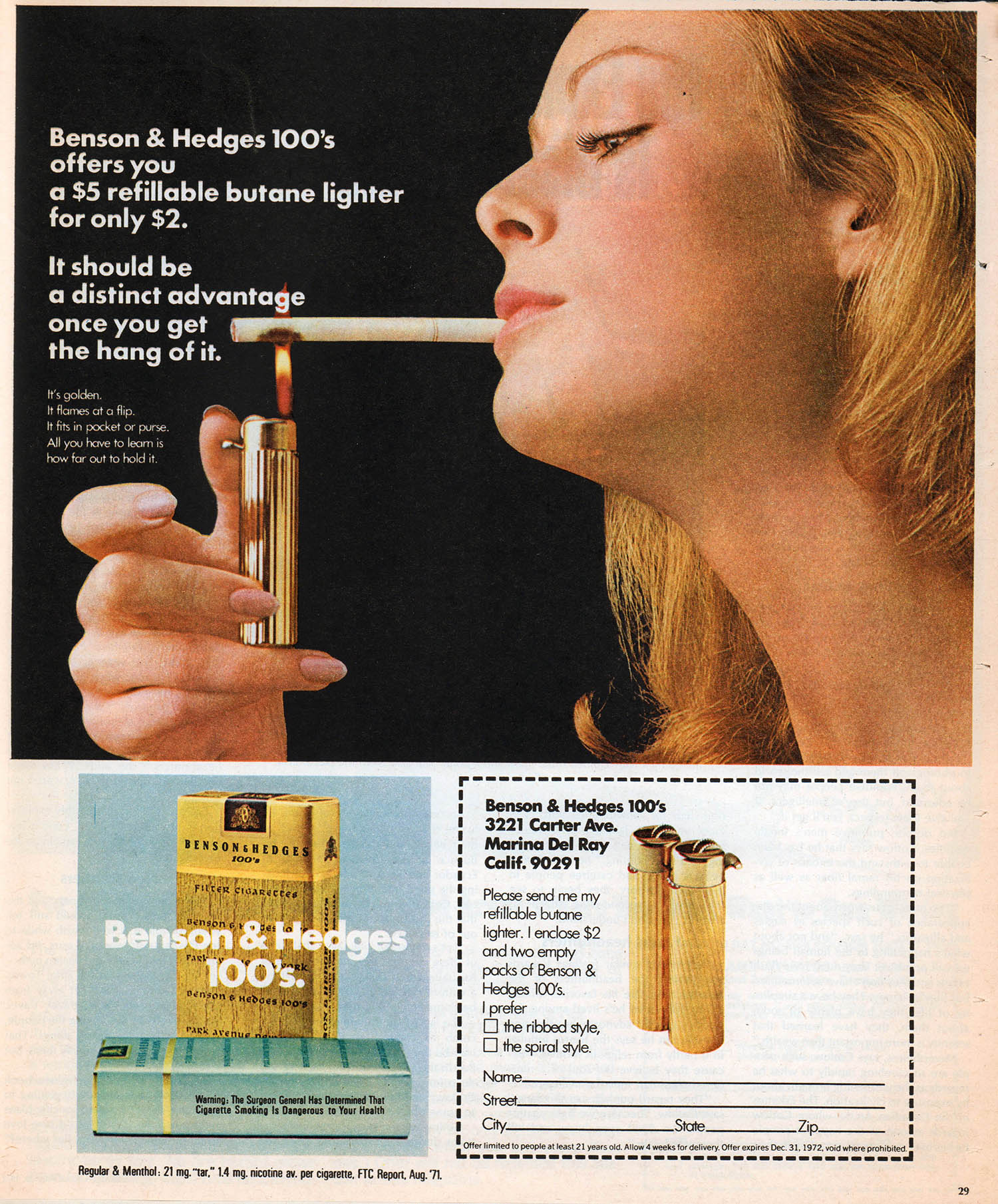 benson and hedges cigarette advertisement