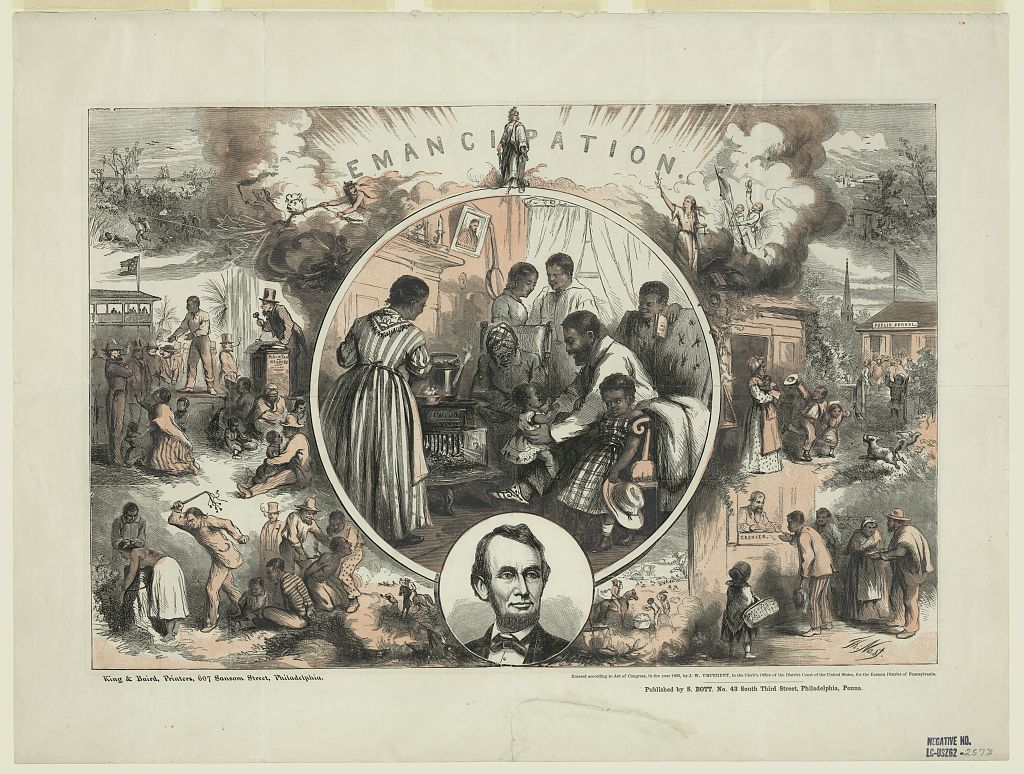 "Title Emancipation / Th. Nast ; King & Baird, printers, 607 Sansom Street, Philadelphia. Summary Thomas Nast's celebration of the emancipation of Southern slaves with the end of the Civil War. Nast envisions a somewhat optimistic picture of the future of free blacks in the United States. The central scene shows the interior of a freedman's home with the family gathered around a ""Union"" wood stove. The father bounces his small child on his knee while his wife and others look on. On the wall near the mantel hang a picture of Abraham Lincoln and a banjo. Below this scene is an oval portrait of Lincoln and above it, Thomas Crawford's statue of ""Freedom."" On either side of the central picture are scenes contrasting black life in the South under the Confederacy (left) with visions of the freedman's life after the war (right). At top left fugitive slaves are hunted down in a coastal swamp. Below, a black man is sold, apart from his wife and children, on a public auction block. At bottom a black woman is flogged and a male slave branded. Above, two hags, one holding the three-headed hellhound Cerberus, preside over these scenes, and flee from the gleaming apparition of Freedom. In contrast, on the right, a woman with an olive branch and scales of justice stands triumphant. Here, a freedman's cottage can be seen in a peaceful landscape. Below, a black mother sends her children off to ""Public School."" At bottom a free Negro receives his pay from a cashier. Two smaller scenes flank Lincoln's portrait. In one a mounted overseer flogs a black field slave (left); in the other a foreman politely greets Negro cotton-field workers."