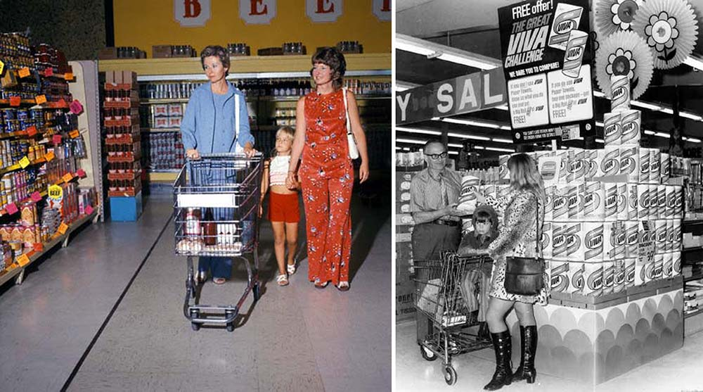 grocery shopping vintage