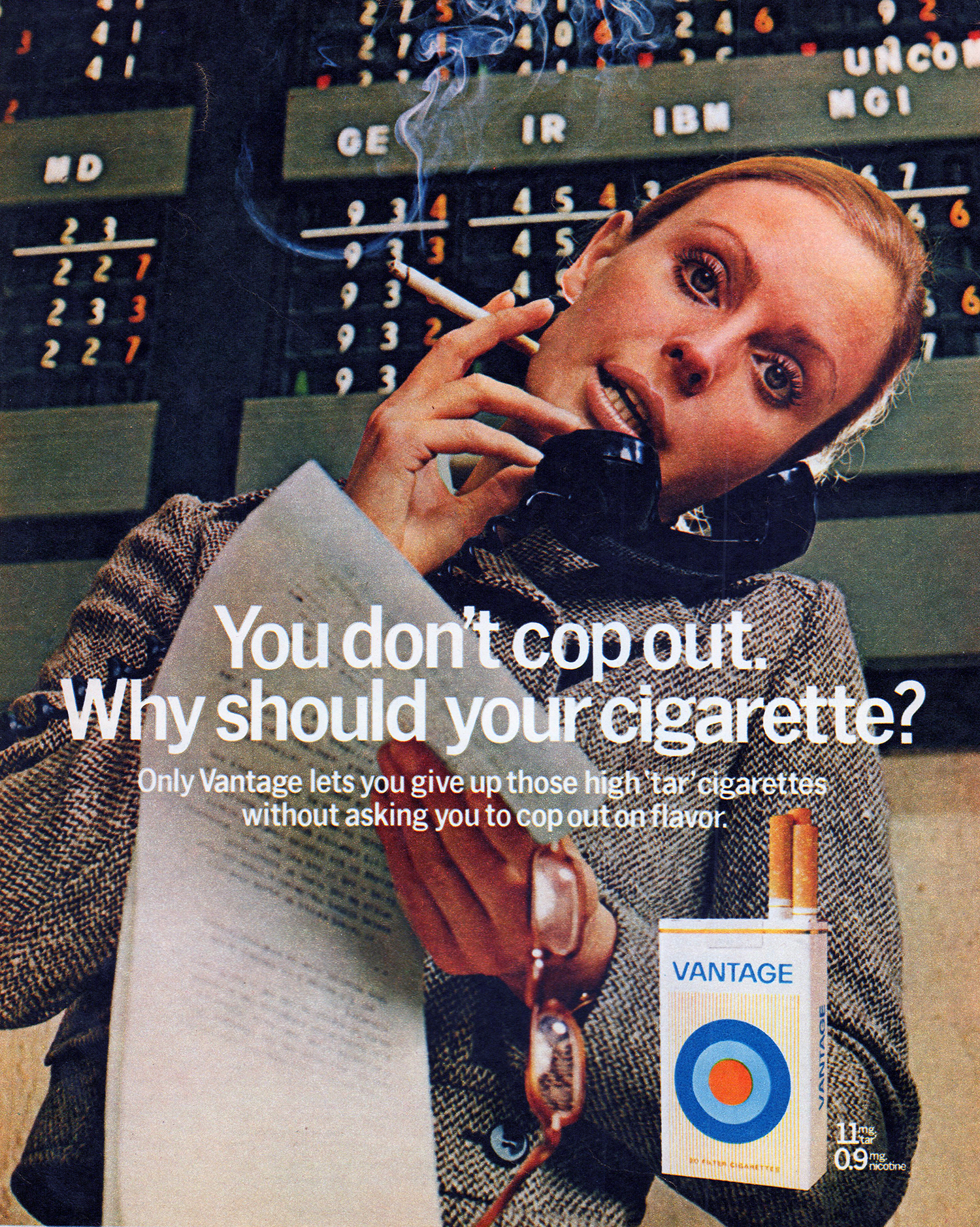 vantage cigarette advertising