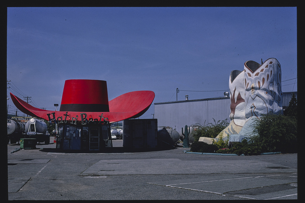 Hat n' Boots gas station, overall view, Route 99 1980