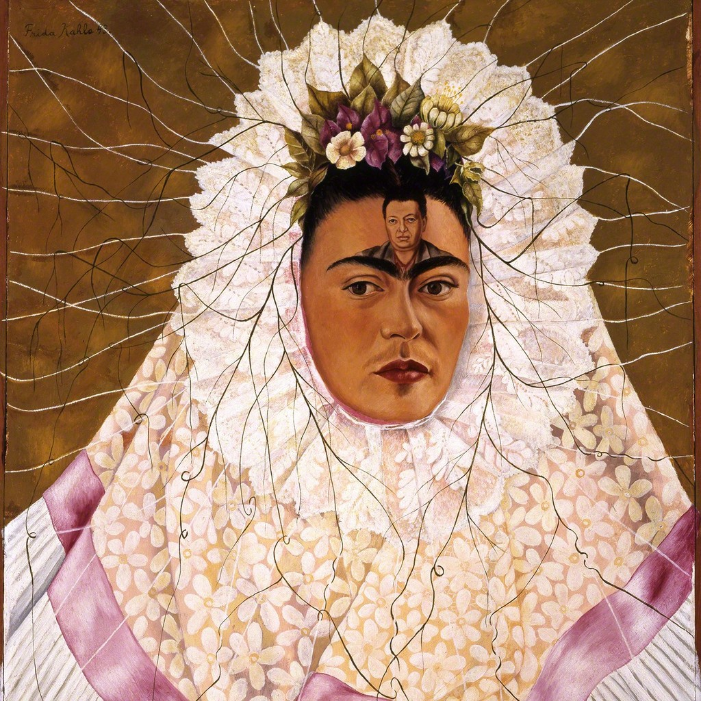 Diego en mi pensamiento is a self-portrait in the traditional wedding attire of Tehuatepec women from Oaxaca, Mexico. In the center of her forehead is a portrait of Diego. It was completed in 1943, which would have been after multiple affairs and their subsequent divorce and remarriage