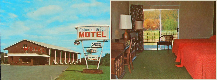 1970s Colonial Brick Motel C. H. Hinkley Great Bend Exit I-81 Hallstead PA