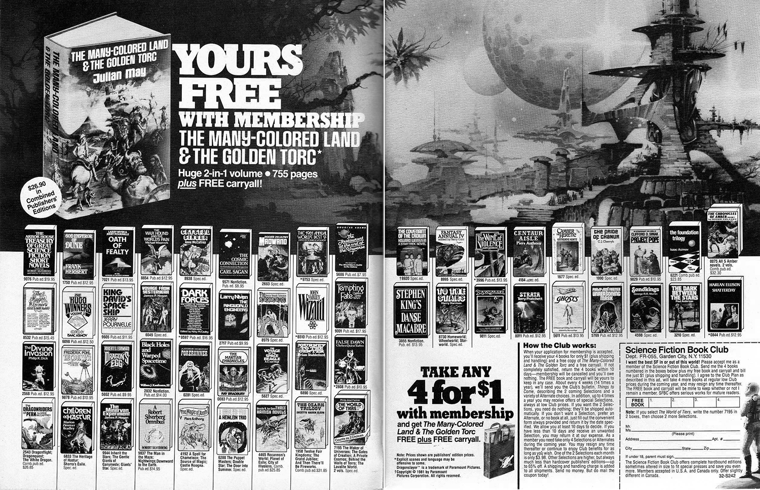 1981 fantasy sci fi book club advert