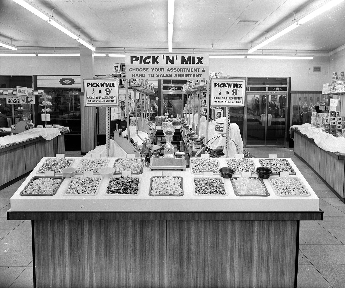 Early Pick n Mix counter Stafford Woolworths 1964