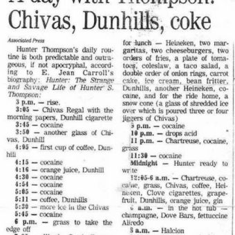 Hunter S Thompson's Daily Drink And Drugs Consumption (Plus His Hangover Cure)