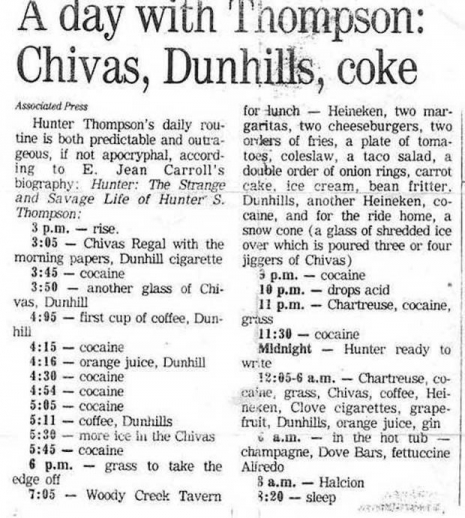 Hunter S Thompson daily drink and drugs