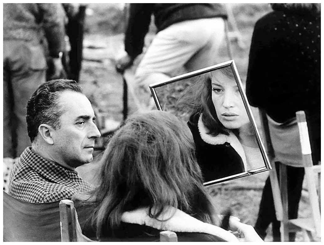 Michelangelo Antonioni and Monica Vitti on the set of Red Desert in 1964.