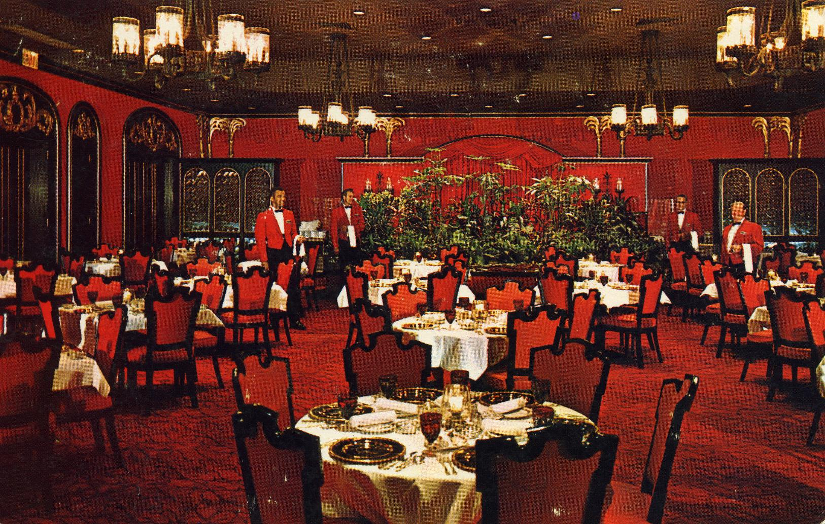 Rendezvous Room Roosevelt Hotel New York NY plush and elegant. A visit to the age of splendor in New Orleans - flaming dishes, prime ribs, steaks and service unequaled in the world