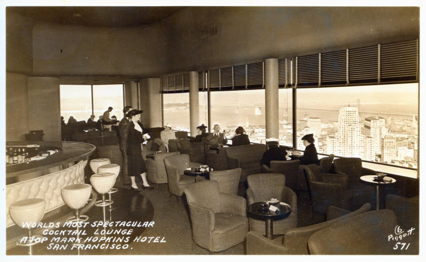 Cocktail Lounge Mark Hopkins Hotel San Francisco CA marked 1941