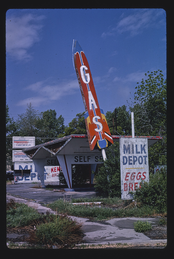 Milk Depot gas station, vertical view, 900 South & 140 East 1979