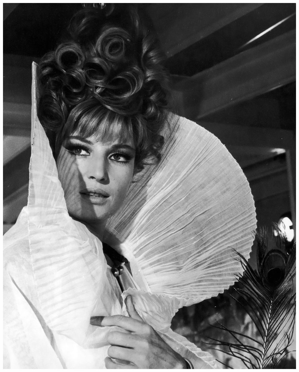 Italian actress Monica Vitti stars in the lead role of Joseph Losey's film 'Modesty Blaise', which was released in 1966. (Photo by Stephan C Archetti/Keystone/Hulton Archive/Getty Images)