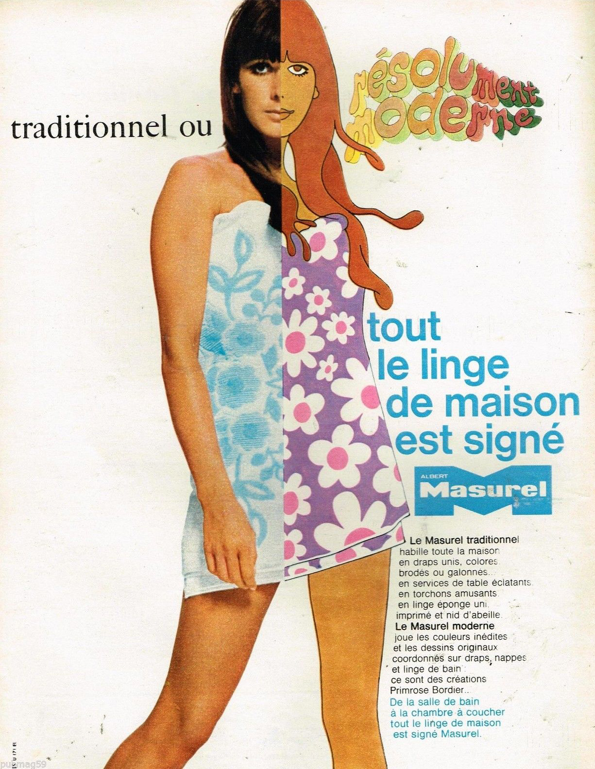 Publicité Advertising 1968 Le Linge de maison Masurel