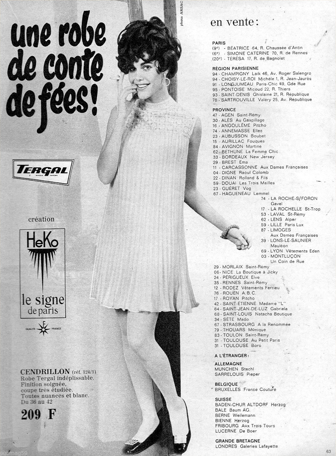 Publicité Advertising 1968 Pret à porter robe Heko