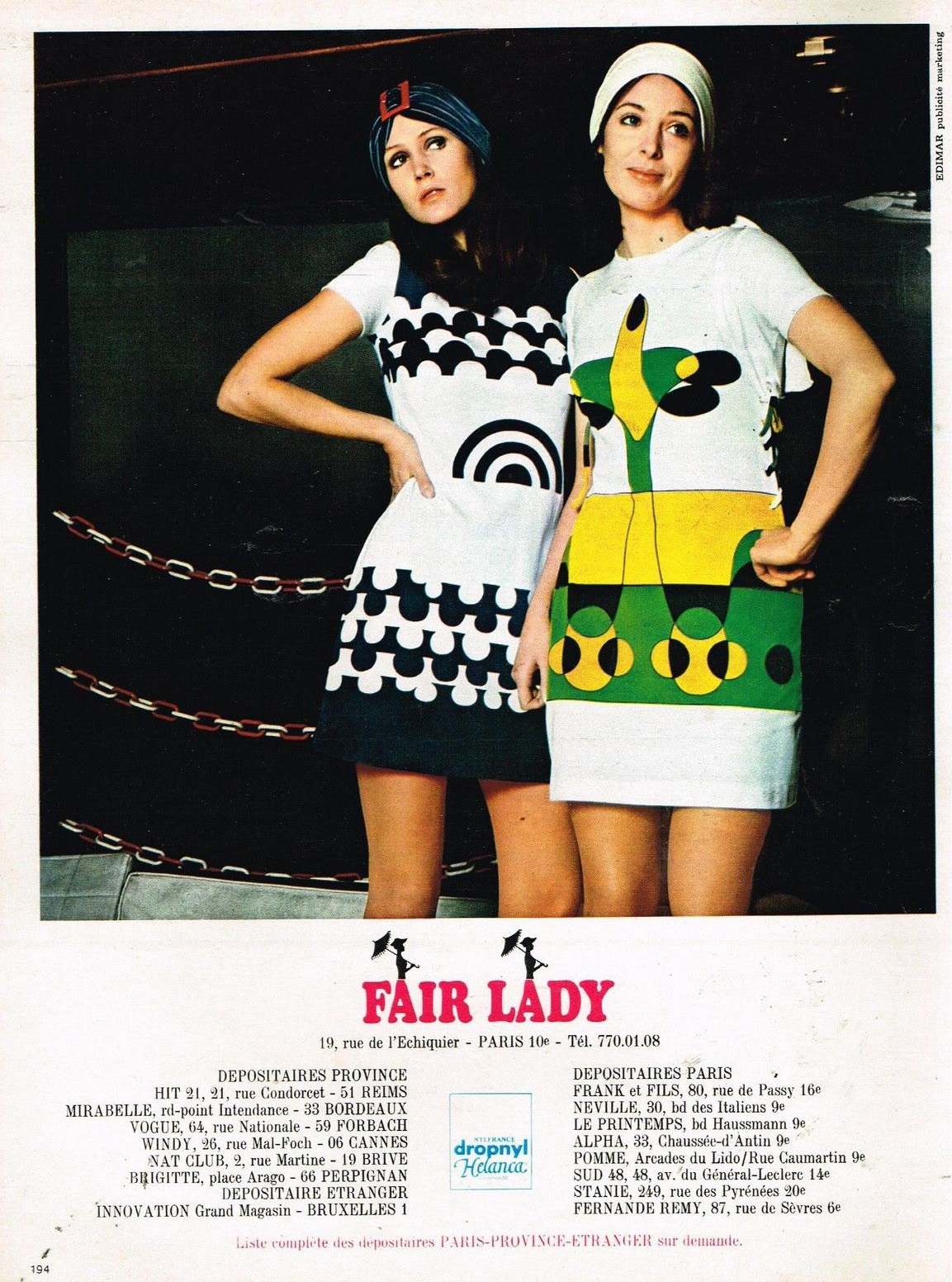 Publicité Advertising 1970 Pret à porter les robes Fair Lady