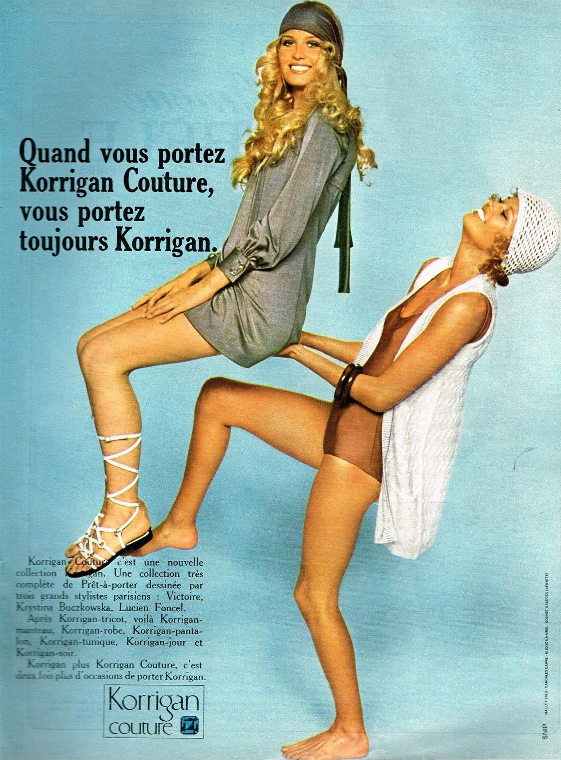 Publicité Advertising 1970 Pret a porter Vetements Femme Korrigan Couture