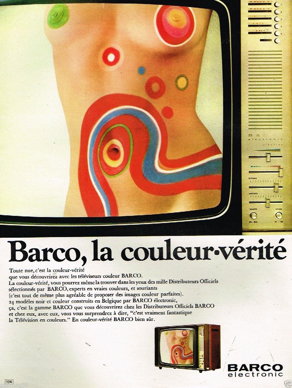 Publicité advertising 1970 Televiseur Television Barco electronic Couleur