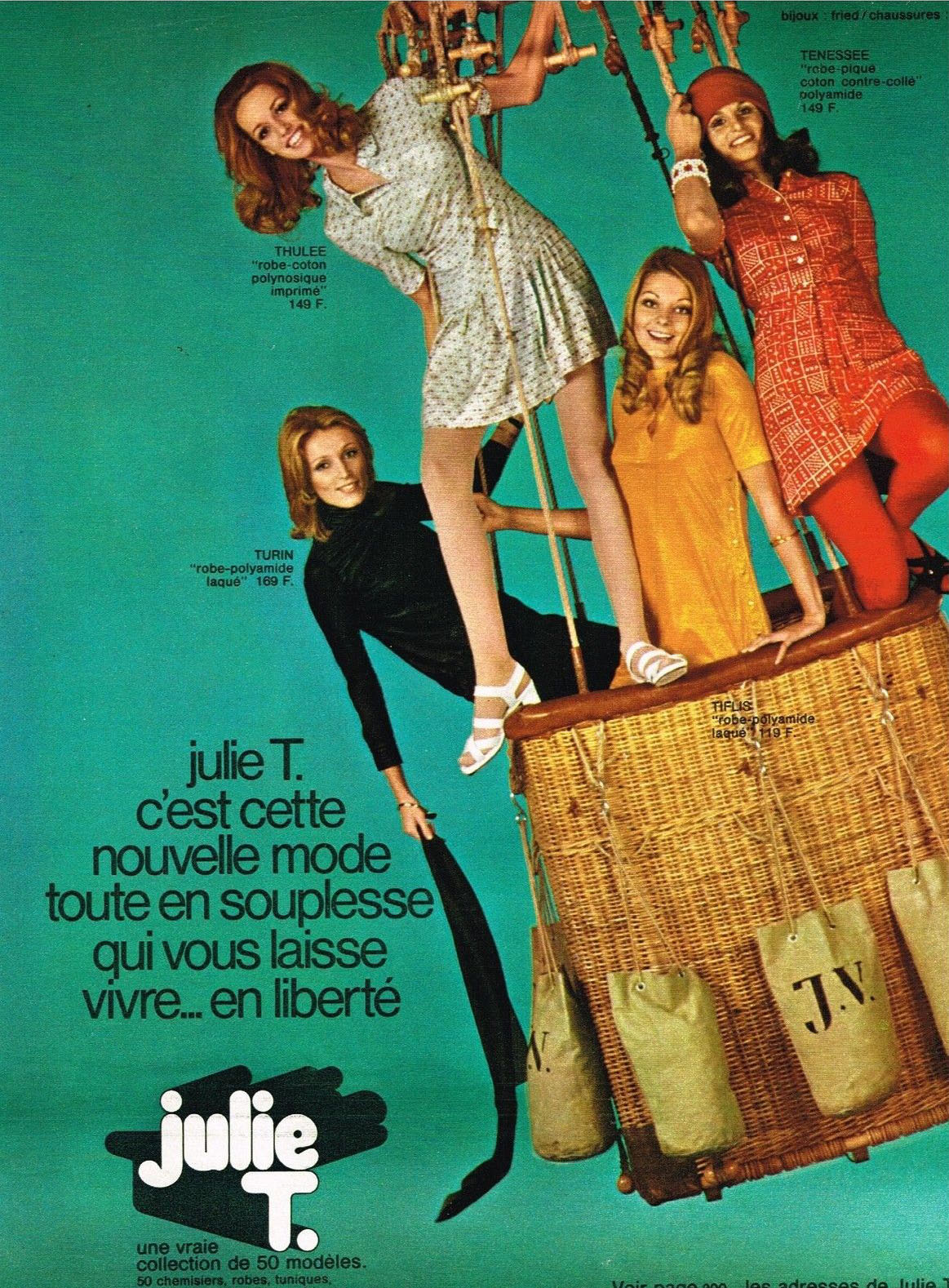 Publicite-Advertising-1970-Pret-a-porter-Vetements-Robe-Julie-