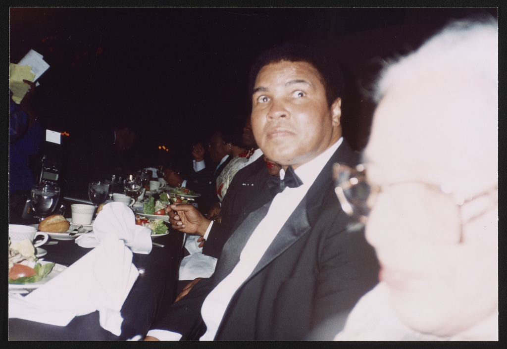 Rosa Parks and Muhammad Ali at their Brotherhood Crusade tribute, Los Angeles, California, 1994