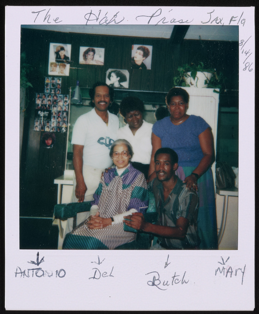 Rosa Parks at a beauty salon, possibly Jacksonville, Florida, 1986