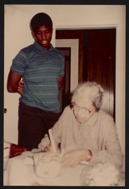 Rosa Parks at a home, likely in Cambridge, Massachusetts, 1984