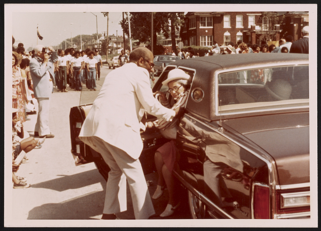 Rosa Parks at ceremonies renaming 12th Street Rosa Parks Boulevard, Detroit, Michigan 1976
