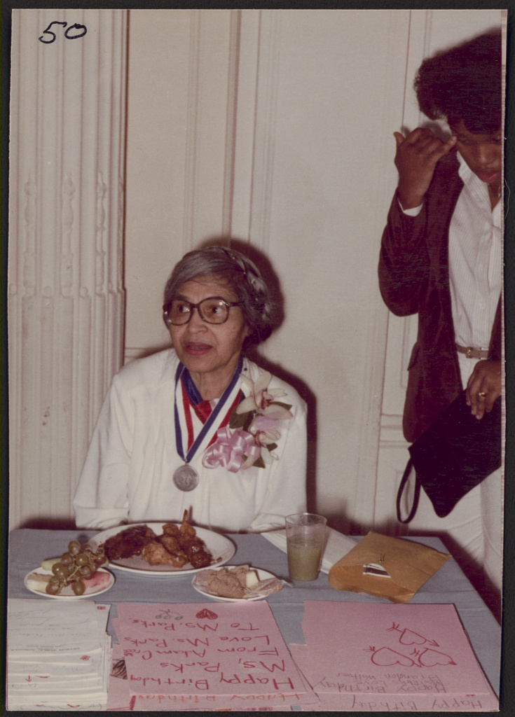 Rosa Parks attending her 68th birthday party, Detroit, Michigan, 1981