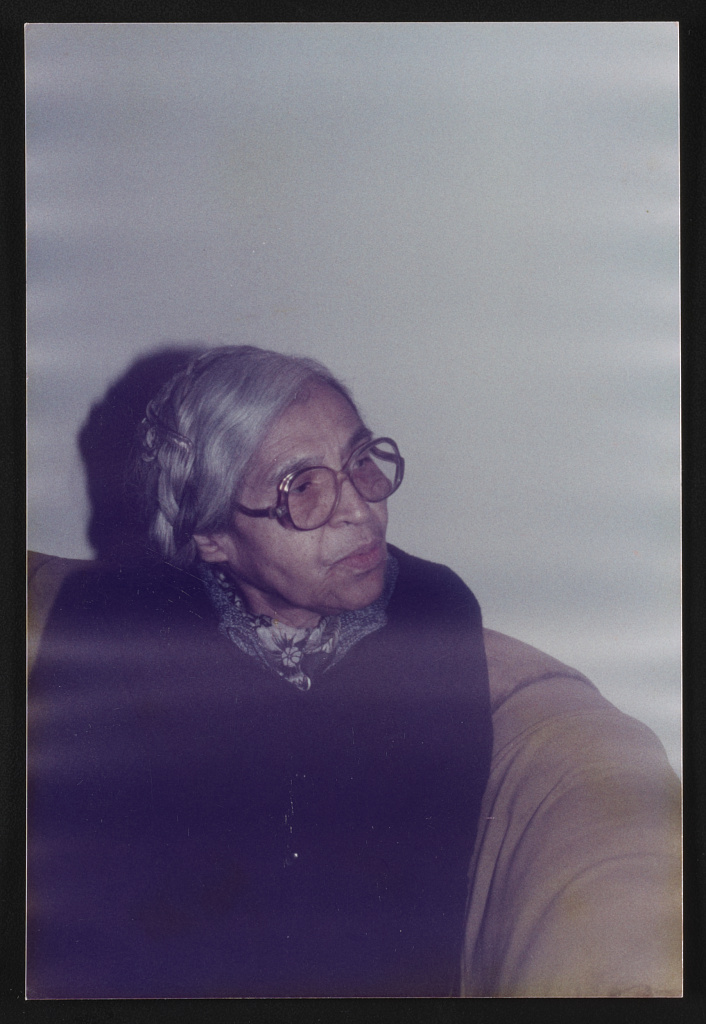 Rosa Parks, half-length portrait facing right