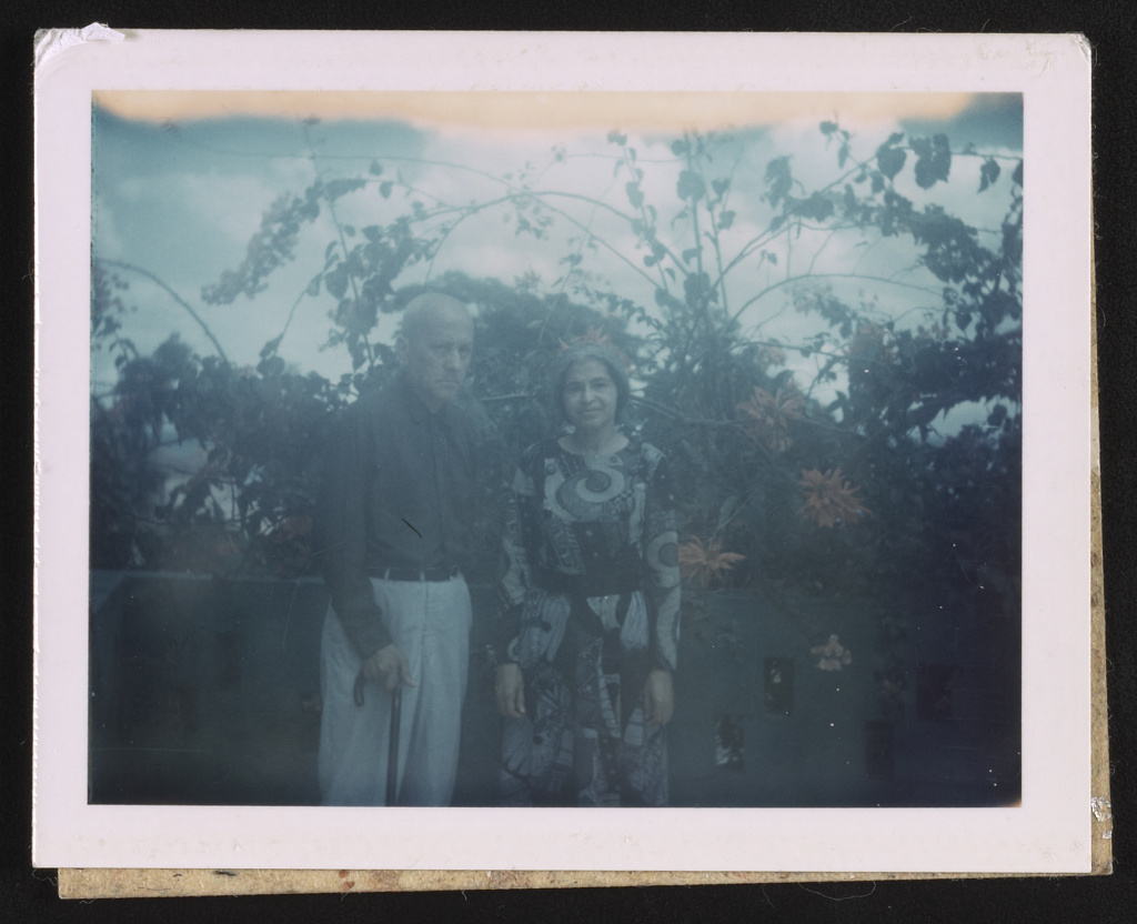 Rosa and Raymond Parks standing in a garden, likely in Detroit, Michigan May 1970