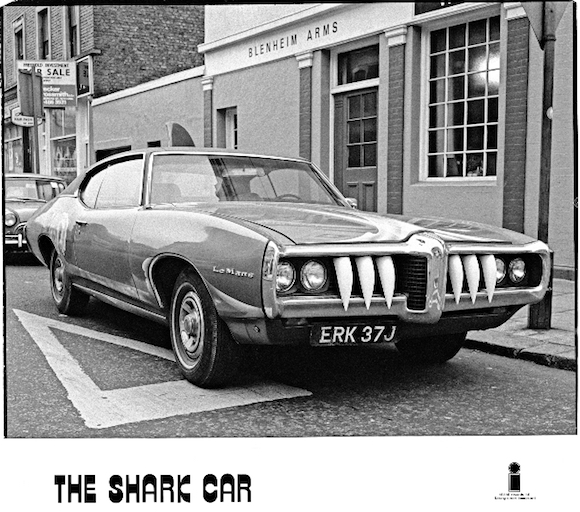 Island Records promo shot of the Sharkmobile outside the long closed Blenheim Arms, Blenheim Crescent, Notting Hill, west London, on January 8, 1973. Photo: Brian Cooke