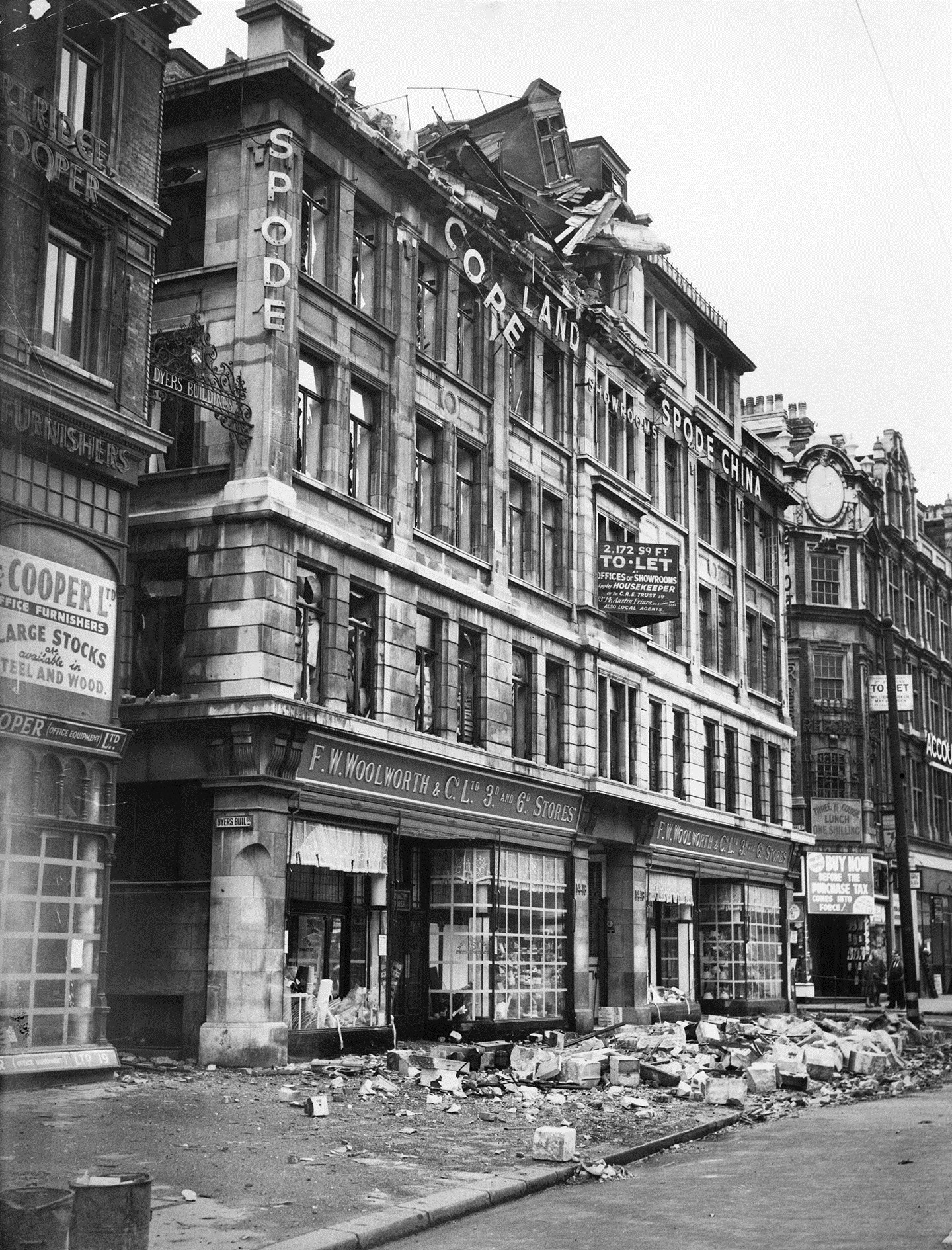 High Holborn, London, photograph taken in the immediate aftermath of bombing 8 October 1940
