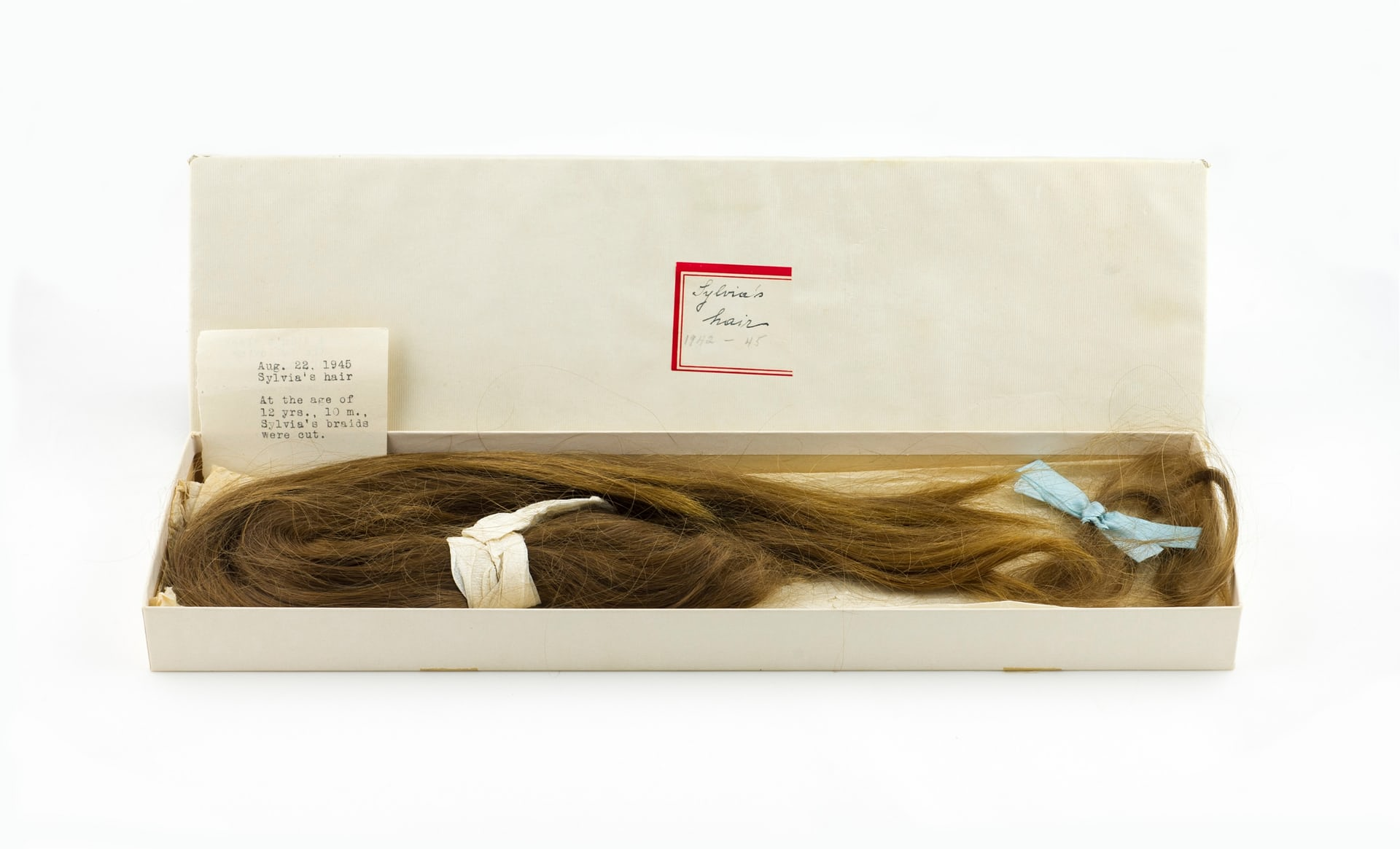 Sylvia Plath's Childhood Ponytail with her mother's inscription, August 1945 Photograph: Courtesy The Lilly Library, Indiana University, Bloomington, Indiana