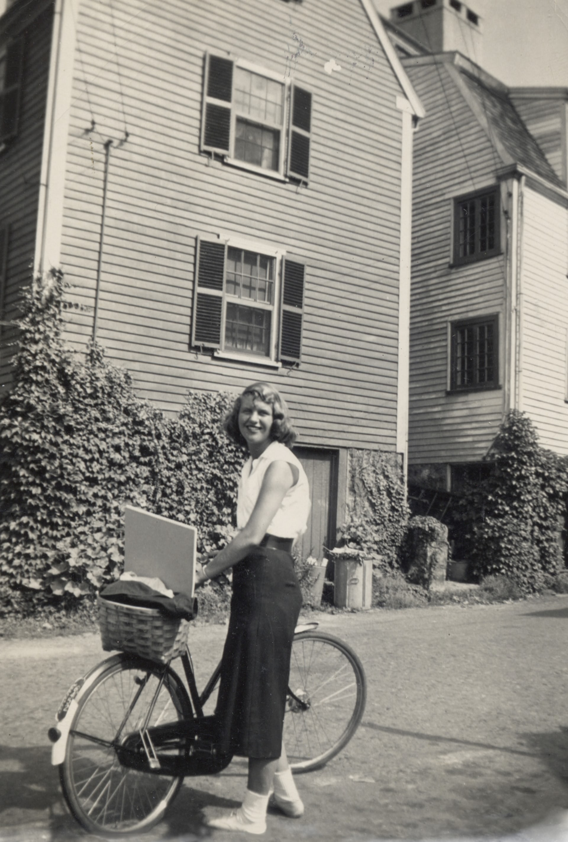 Sylvia Plath standing beside her bicycle, Marblehead, Massachusetts, 1951 Photograph: Marcia B Stern/Mortimer Rare Book Collection, Smith College, Northampton, Massachusetts