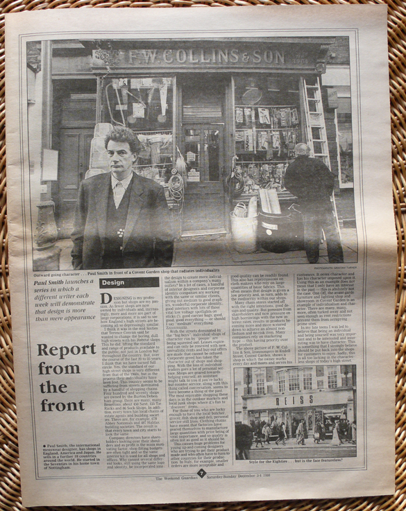 Paul Smith The Guardian Weekend supplement, Dec 3-4, 1988