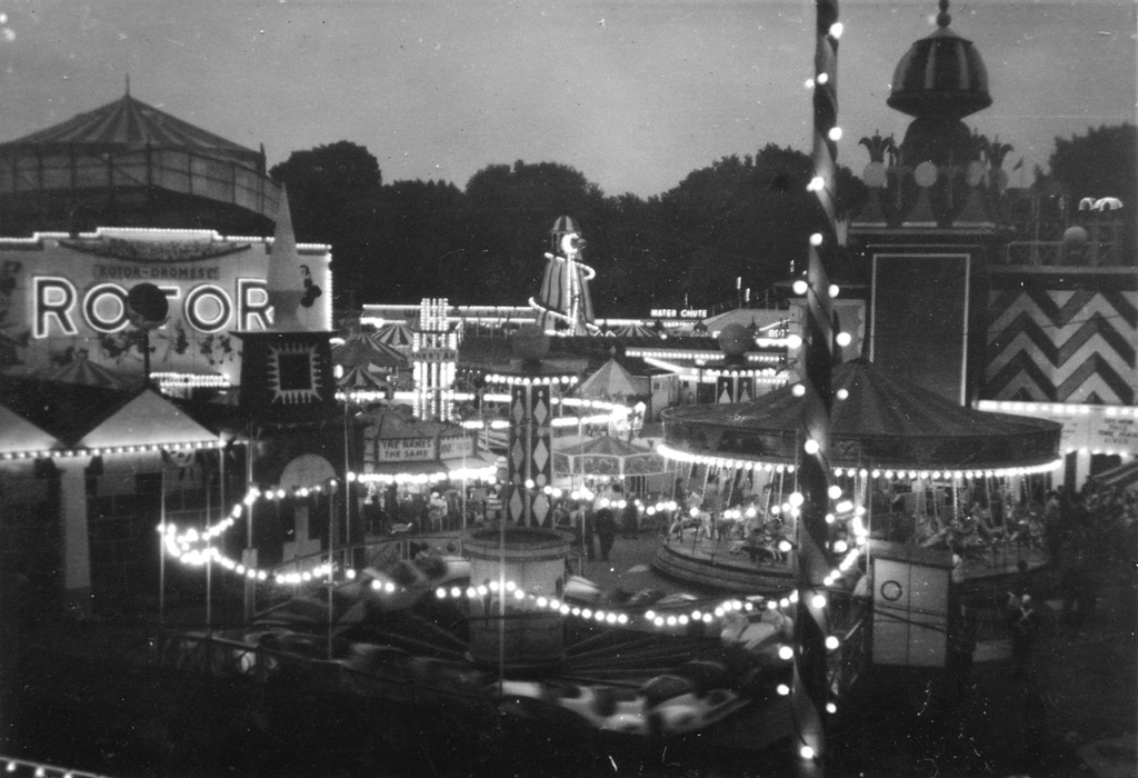 The funfair in Battersea Pleasure Gardens. Some time in the 50s