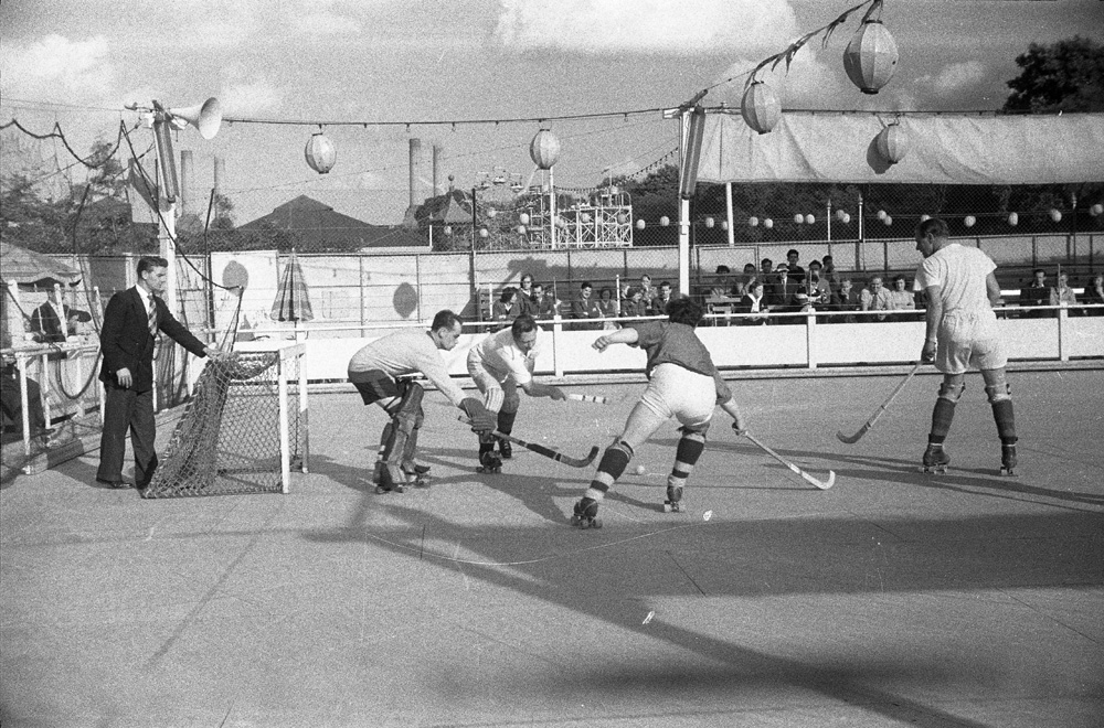 The roller hockey on skating rink in Battersea Park