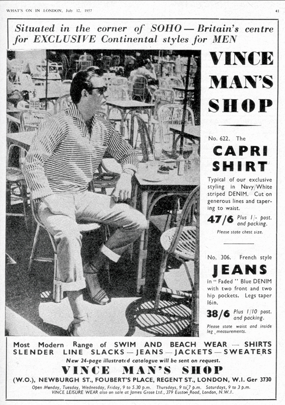 Vince ad, What's On In London 1957, featuring model Sean Connery