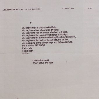 FAX Poem #1: Charles Bukowski's Final Words